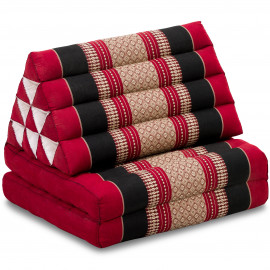 Kapok Thaikissen, Dreieckskissen, rot/schwarz, 2 Auflagen