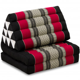 Kapok Thaikissen, Dreieckskissen, schwarz/rot, 2 Auflagen