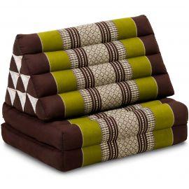 Kapok Thaikissen, Dreieckskissen, braun/grün, 2 Auflagen