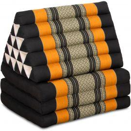 Jumbo Thaikissen, Dreieckskissen XXL-Höhe, schwarz/orange