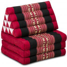 Kapok Thaikissen, Dreieckskissen, rot/Elefanten, 3 Auflagen