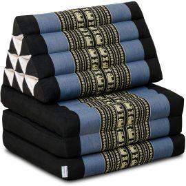 Kapok Thaikissen, Dreieckskissen, blau/Elefanten, 3 Auflagen
