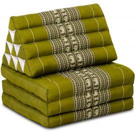 Kapok Thaikissen, Dreieckskissen, grün/Elefanten, 3 Auflagen