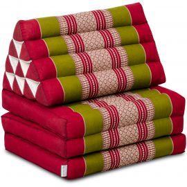 (B-Ware) Nr.143 Kapok Thaikissen, Dreieckskissen, rot / grün, 3 Auflagen