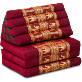 (B-Ware) Nr.112 Kapok Thaikissen, Seidenstickerei, 3 Auflagen rot/Elefanten