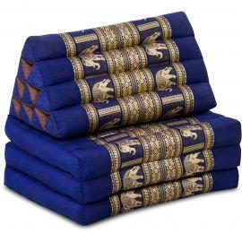 (B-Ware) Nr.111 Kapok Thaikissen, Seidenstickerei, 3 Auflagen blau/Elefanten