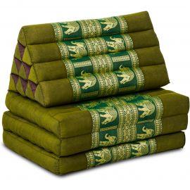 (B-Ware) Nr.113 Kapok Thaikissen, Seidenstickerei, 3 Auflagen grün/Elefanten
