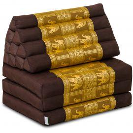 Kapok Thaikissen, Seidenstickerei, 3 Auflagen   braun-gold/Elefanten