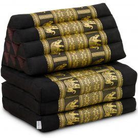 Kapok Thaikissen, Seidenstickerei, 3 Auflagen   schwarz/Elefanten