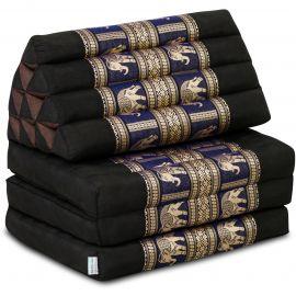 Kapok Thaikissen, Seidenstickerei, 3 Auflagen   schwarz-blau/Elefanten