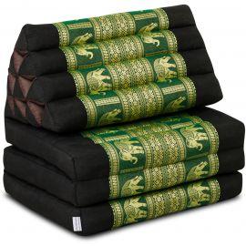 Kapok Thaikissen, Seidenstickerei, 3 Auflagen   schwarz-grün/Elefanten