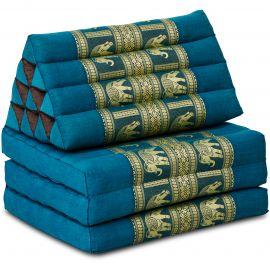 Kapok Thaikissen, Seidenstickerei, 3 Auflagen   hellblau/Elefanten