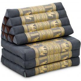 Kapok Thaikissen, Seidenstickerei, 3 Auflagen   grau/Elefanten