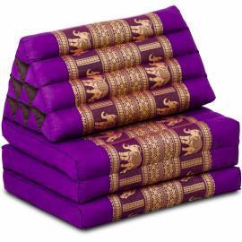 (B-Ware) Nr.88 Kapok Thaikissen, Seidenstickerei, 3 Auflagen lila/Elefanten