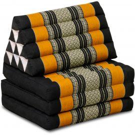 (B-Ware) Nr.124 Kapok Thaikissen, Dreieckskissen, schwarz/orange, 3 Auflagen
