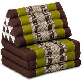 Kapok Thaikissen, Dreieckskissen, braun/grün, 3 Auflagen