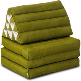 Kapok Thaikissen, Dreieckskissen, einfarbig, grün, 3 Auflagen