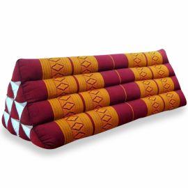 (B-Ware) Nr.35 Dreieckskissen als Rückenstütze, extrabreit, rot / gelb