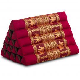 Thaikissen ohne Auflagen, mit Seidenstickerei, rot(bordeaux) / Elefanten, extrahoch