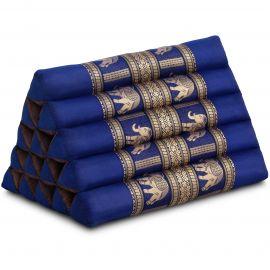 Thaikissen ohne Auflagen, mit Seidenstickerei, blau / Elefanten, extrahoch