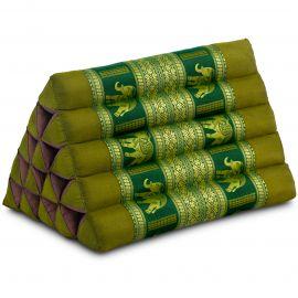 Thaikissen ohne Auflagen, mit Seidenstickerei, grün / Elefanten, extrahoch