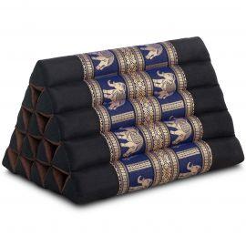 Thaikissen ohne Auflagen, mit Seidenstickerei, schwarz-blau / Elefanten, extrahoch