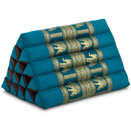 Thaikissen ohne Auflagen, mit Seidenstickerei, hellblau / Elefanten, extrahoch