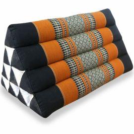 (B-Ware) Nr.8 Thaikissen ohne Auflagen, schwarz / orange