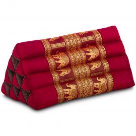 Thaikissen ohne Auflagen, mit Seidenstickerei, rot(bordeaux) / Elefanten