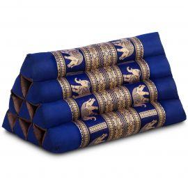 Thaikissen ohne Auflagen, mit Seidenstickerei, blau / Elefanten