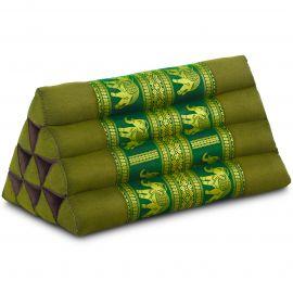 Thaikissen ohne Auflagen, mit Seidenstickerei, grün / Elefanten