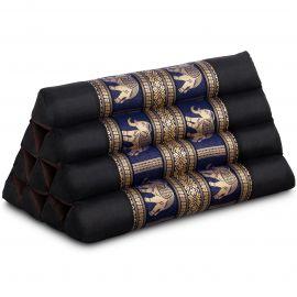Thaikissen ohne Auflagen, mit Seidenstickerei, schwarz-blau / Elefanten