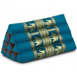 Thaikissen ohne Auflagen, mit Seidenstickerei, hellblau / Elefanten