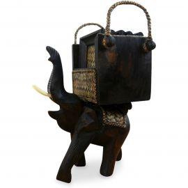 Elefantenuntersetzer aus Holz und Rattan (eckig)