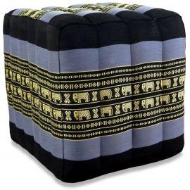 Würfel-Sitzkissen, blau / Elefanten