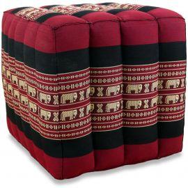 Würfel-Sitzkissen, rot / Elefanten