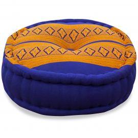 Zafukissen, Meditationskissen, blau-gelb