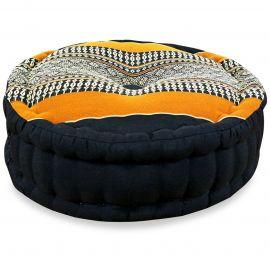 Zafukissen, Meditationskissen, schwarz / orange