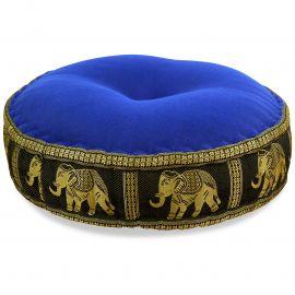 Zafukissen, Meditationskissen, Seide, blau-schwarz / Elefanten