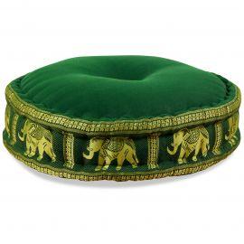 Zafukissen, Meditationskissen, Seide, dunkelgrün / Elefanten