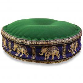 Zafukissen, Meditationskissen, Seide, grün-blau / Elefanten