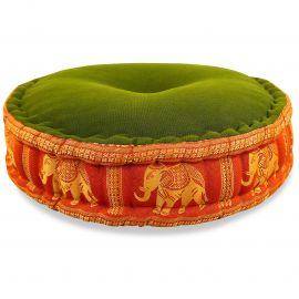 Zafukissen, Meditationskissen, Seide, grün-orange / Elefanten