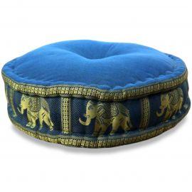 Zafukissen, Meditationskissen, Seide,  hellblau / Elefanten