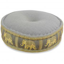 Zafukissen, Meditationskissen, Seide,  hellgrau / Elefanten