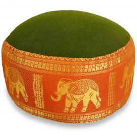 kleines Zafukissen, Yogakissen, Seide, grün-orange / Elefanten