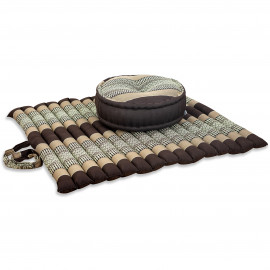 Kapok, Zafukissen mit extragroßem Steppkissen XL, braun