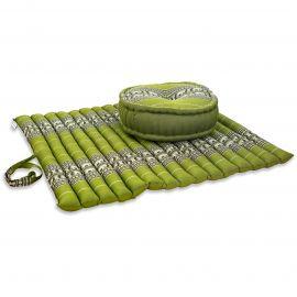 Kapok, Zafukissen mit extragroßem Steppkissen XL, grün-Elefanten