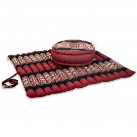 Kapok, Zafukissen mit extragroßem Steppkissen XL, rot-Elefanten