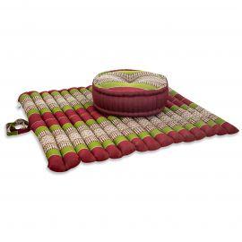 Kapok, Zafukissen mit extragroßem Steppkissen XL, rot-grün