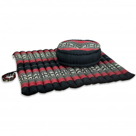 Kapok, Zafukissen mit extragroßem Steppkissen XL, schwarz-Elefanten